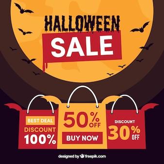 Hallowen venda de fundo com design lua