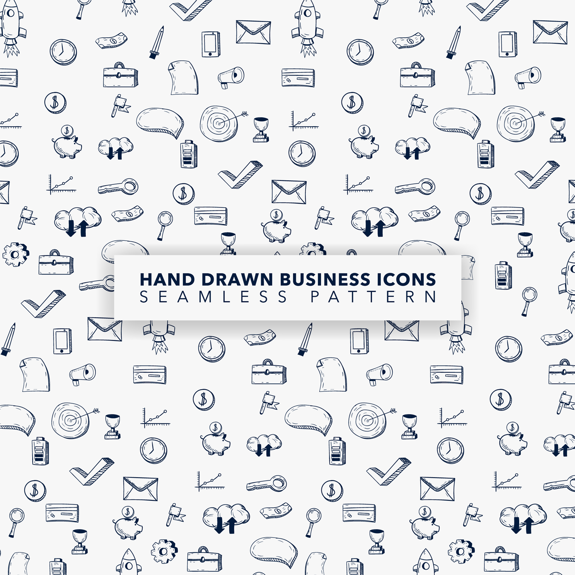 Hand drawn business icon pattern background