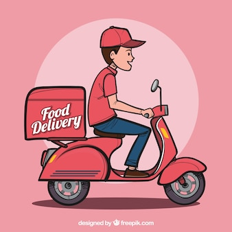 Hand drawn food delivery man