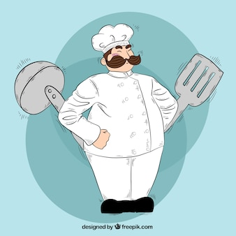 Hand-drawn fundo de chef com utensílios de cozinha