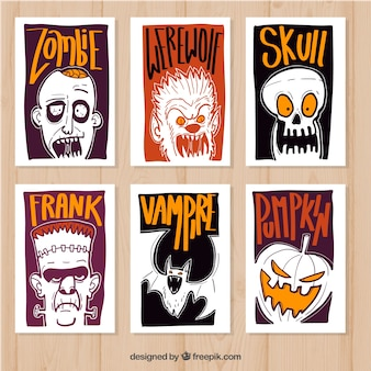 Hand drawn pack of halloween cards