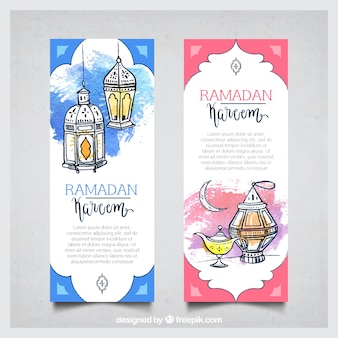 Hand drawn watercolor ramadan kareem banners