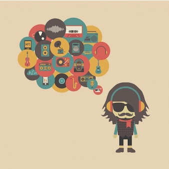 Hipster pensar sobre música