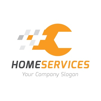 Home services logo, modelo de logotipo de cuidados domiciliários.