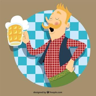 Homem alemão com uma caneca de cerveja