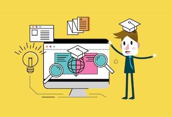 Homem com educação on-line