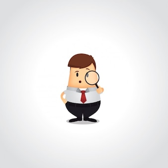 Homem de negócio com uma lupa
