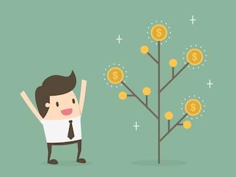 Homem de negócios com uma árvore de moedas