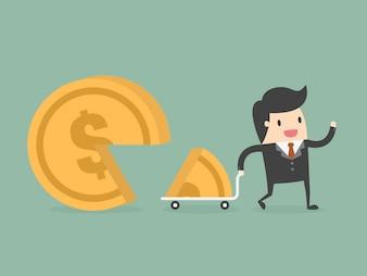 Homem de negócios com uma moeda grande