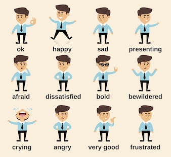 Homem de negócios personagem de desenho animado conjunto de emoções isolado ilustração vetorial
