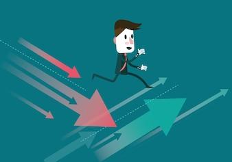 Homem de negócios salta para a seta de crescimento