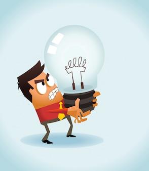 Homem de negócios segurando uma lâmpada