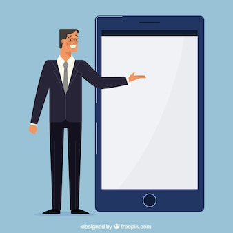 Homem negócios, apontar, móvel, tela