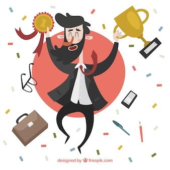 Homem negócios, celebrando, seu, sucesso