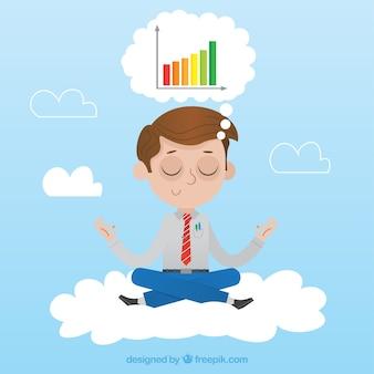 Homem negócios, meditar, pensando, gráficos