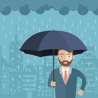 Homem sob o design da chuva