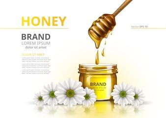 Honey jar Vector maquete realista. Anuncie pacote comercial sobre fundo de flores de camomila