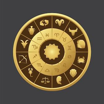 Horóscopo, círculo, fundo, desenho