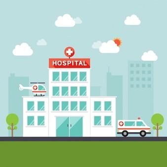 Hospital com helicóptero e ambulância