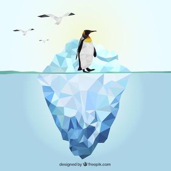 Iceberg poligonal e pinguim