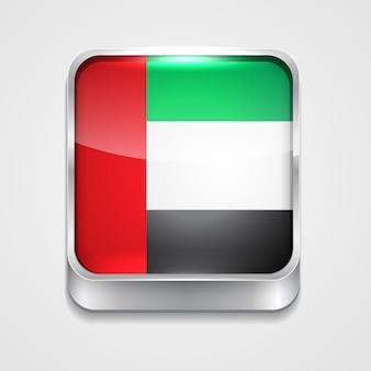 Ícone da bandeira do estilo 3d do vetor de Emirados árabes unidos