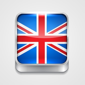 Ícone de bandeira de estilo vetor 3d do reino unido