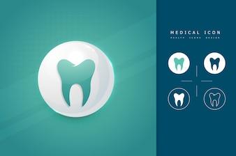 Ícone de dentes saudáveis para fins médicos