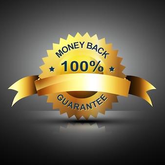 Ícone de garantia de devolução de dinheiro em cor dourada