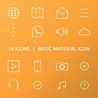 ícone de material básico. conjunto de ícones de estrutura de tópicos.
