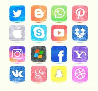 Ícone de mídia social definido em estilo desenhado a mão
