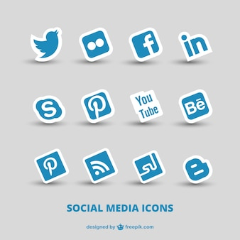 Ícones azuis de mídia social