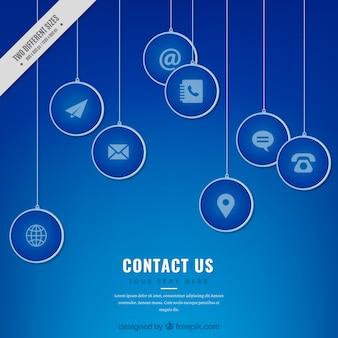 Ícones azuis do contacto fundo