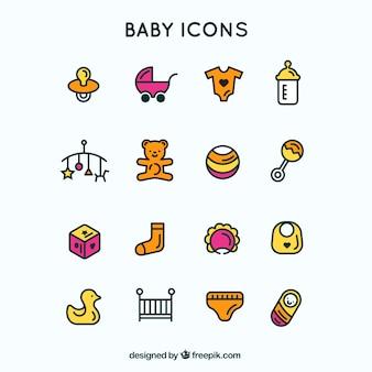 Ícones azul bebê delineadas
