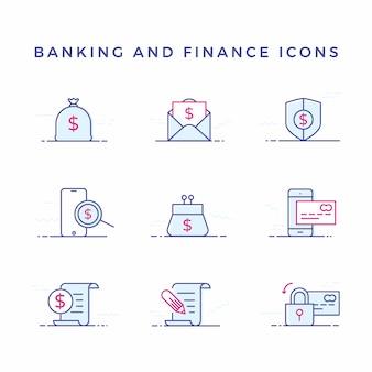 Ícones bancários e financeiros