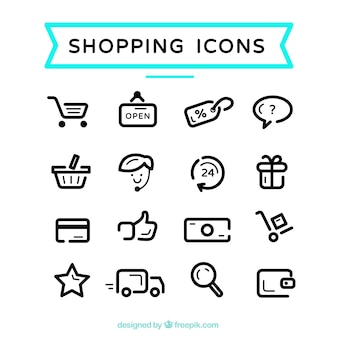 Ícones bonitos de compras