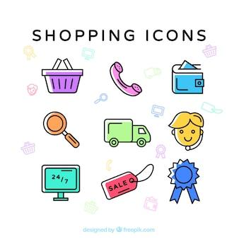 Ícones coloridos comerciais