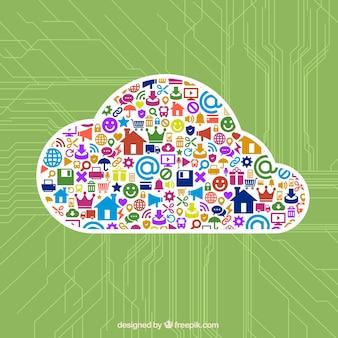 Ícones coloridos dentro da nuvem