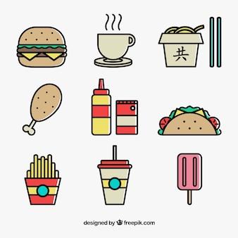 Ícones coloridos do fast food