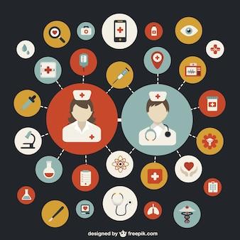 ícones coloridos temáticos hospitalar