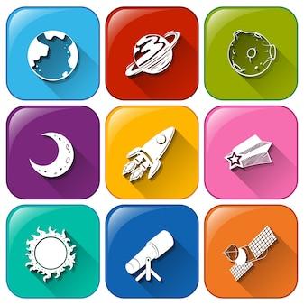 Ícones com objetos encontrados no outerspace