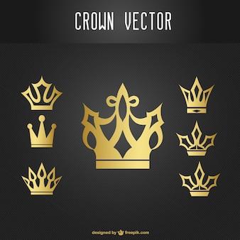 ícones da coroa de ouro conjunto