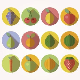Ícones da fruta no estilo de design plano