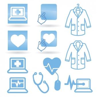 Ícones da medicina na cor azul