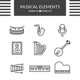 Ícones da música esboçados