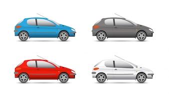 Ícones da web de coleção de vetores. carro e conjunto