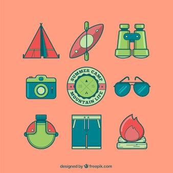 Ícones de acampamento coloridos