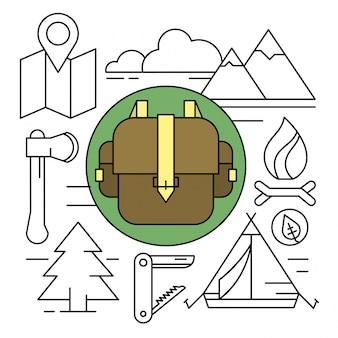 Ícones de acampamento e caminhadas estilo linear