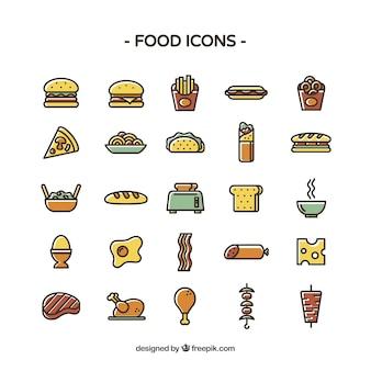 Ícones de alimentos coloridos