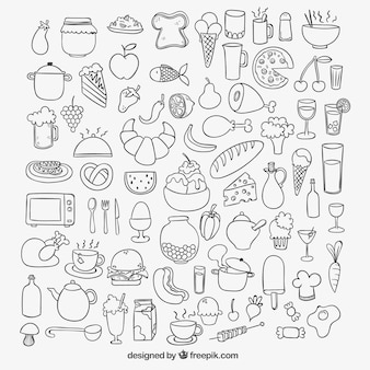 Ícones de alimentos esboçado