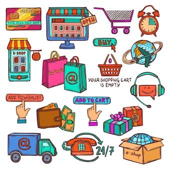 Ícones de comércio eletrônico conjunto de esboço